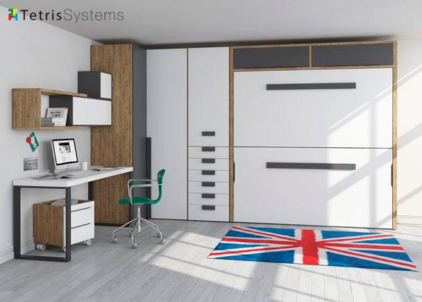 Dormitorio con litera abatible y armario rinc n elmenut - Habitaciones con literas abatibles ...