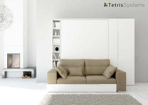 Sal n con cama abatible y sof armario elmenut for Sofa cama 150 ancho