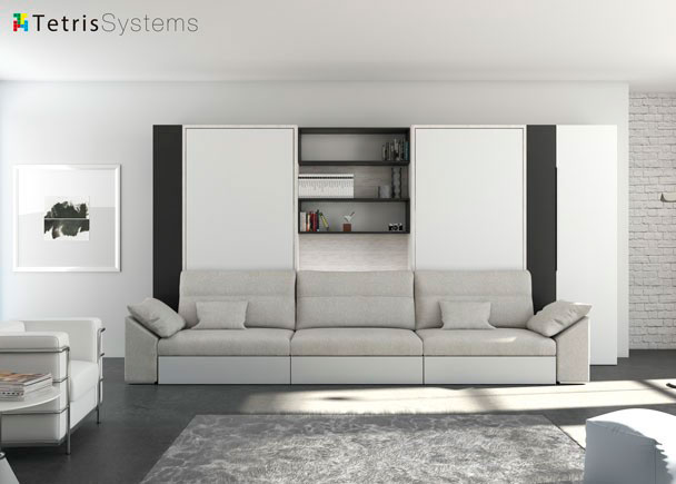Sal n con doble cama abatible vertical y sof elmenut for Muebles mariano