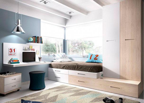 Juvenil con nido con escritorio y armario elmenut for Cama nido escritorio incorporado