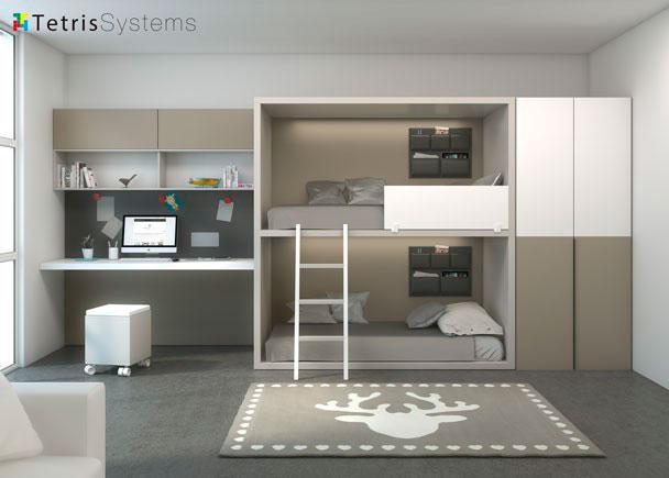 Zona estudio con litera rubbik y armario fondo 100 elmenut - Dormitorios dobles juveniles ...