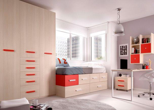 Juvenil modular con armario y escritorio elmenut for Cama modular infantil