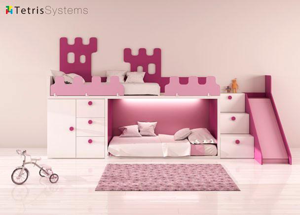 habitacin infantil con litera rubbik con escalera de peldaos y composicin mural las barandillas with decoracion habitacion nia de aos