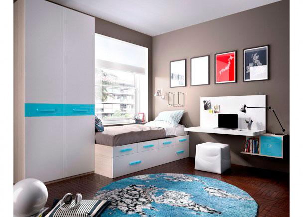 Juvenil modular con cajones escritorio armario elmenut - Dormitorio juvenil nino ...