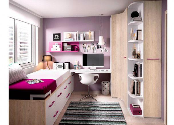Habitaci n juvenil con compacto armario rinc n elmenut for Dormitorios juveniles con armario esquinero