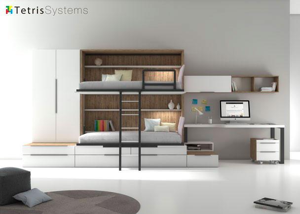 Litera abatible con nido mesa y armario elmenut - Habitaciones infantiles 2 camas ...