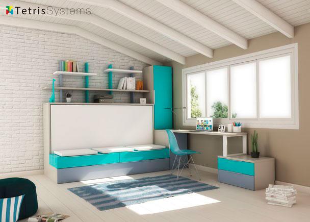 Cama abatible con sofá, nido, escritorio y armario