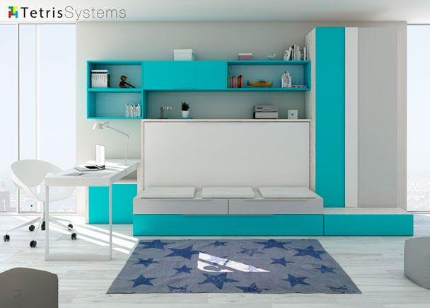 Cama abatible con sof y mesa abatible elmenut - Habitaciones juveniles con cama abatible ...