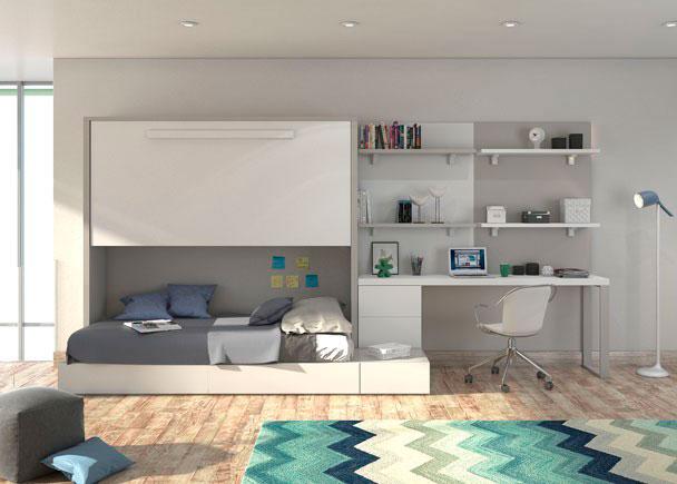 Habitaci n juvenil con cama abarible y cama nido elmenut for Camas juveniles con escritorio incorporado