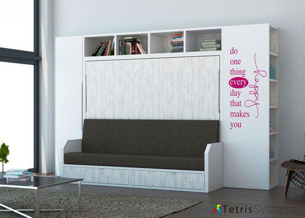 Cama abatible versatile 135 x 190 librer a elmenut - Habitaciones juveniles camas abatibles horizontales ...