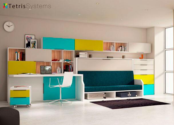 dormitorio juvenil con cama abatible versatile con sof integrado