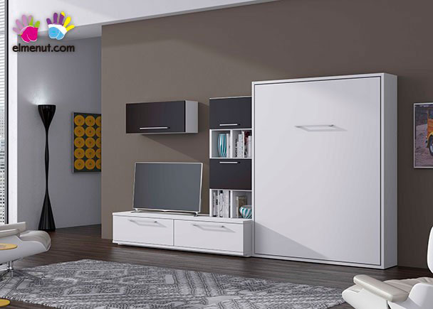 Composici n mural para sal n con cama abatible vertical - Mueble salon con cama abatible ...