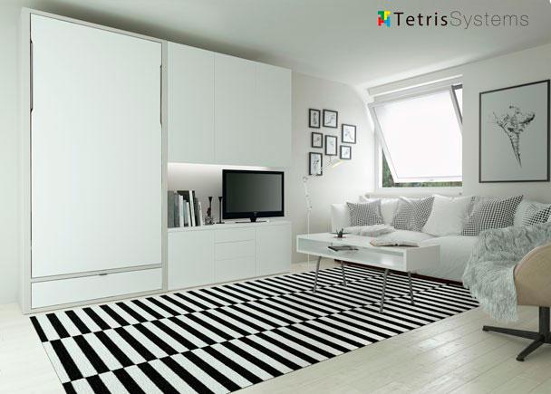 Salón cama abatible WALLBED 90 x 190 grueso 5 cm.