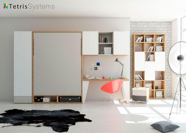 Dormitorio con cama abatible wallbed 135 x 190 cm elmenut - Camas abatibles 135 ...