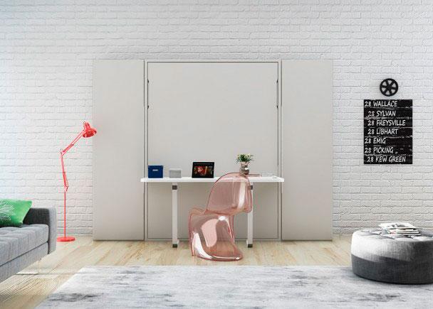 Cama abatible vertical con mesa 135 x 190 y armarios elmenut - Cama con mesa incorporada ...