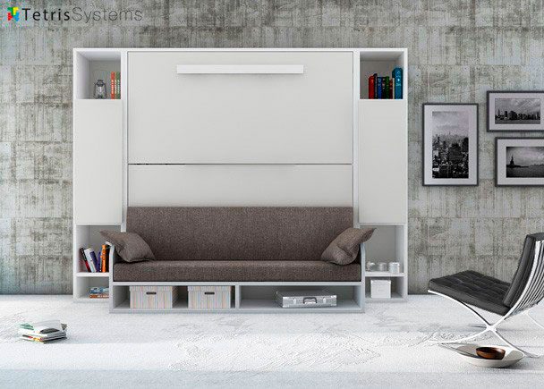 Litera versatile 90 x 190 con sof y librer as laterales for Cama nido con litera abatible