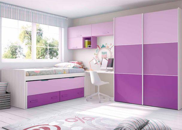 Habitaci n infantil con cama deslizante armario elmenut for Habitacion infantil dos camas