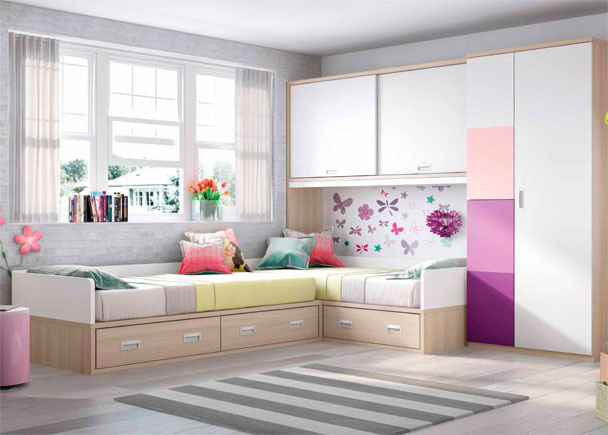 Dormitorio infantil con 2 camas altillo y armariada elmenut - Habitaciones juveniles 2 camas ...