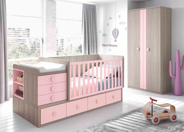 Dormitorio de Bebé con cuna convertible rosa. Elmenut