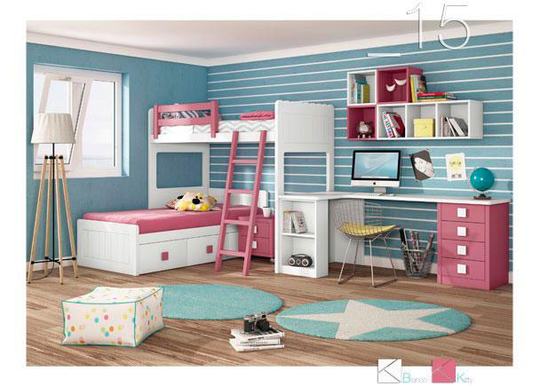 Habitaci n infantil con litera tren 589 152016 elmenut for Habitaciones para ninas con literas