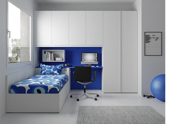 Compacto con deslizante y cajones con escritorio y - Dormitorios con armario ...