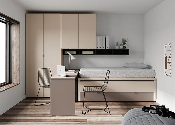 Dormitorio juvenil con compacto de cama fija, deslizante y base de 2 cajones nido. La novedad de este modelo es que tanto la cama superior como la des