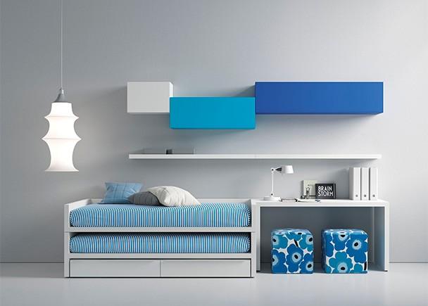 Dormitorio juvenil equipado con un compacto con cama fija. deslizante y base de 2 cajones nido. La novedad de este modelo es que tanto la cama superio