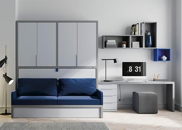 Cama abatible horizontal con sof armario superior y zona for Sofa cama armario