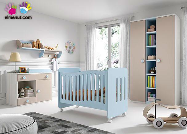 Habitación de bebé, equipada con una cuna con ruedas + Armario de 2 puertas + Comoda-Cambiador