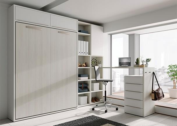 Dormitorio juvenil equipado con una cama abatible vertical con altillo, para colchón de 150 x 190 y zona de estudio.