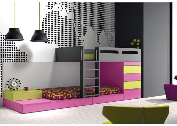 Dormitorio infantil con camas cubo tipo tren elmenut for Dormitorios juveniles tipo tren
