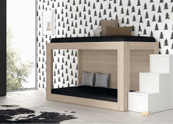 Dormitorio infantil con Litera minimalista en la que diseño y funcionalidad van de la mano.