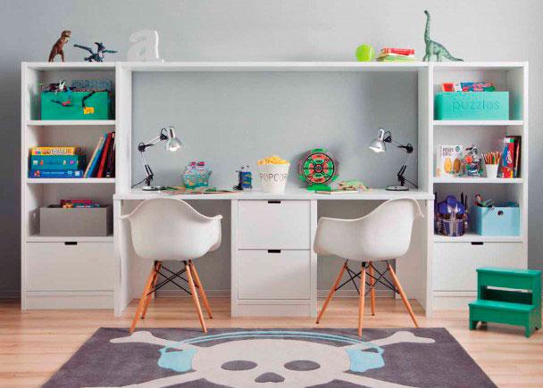 Zona de estudio doble para habitaci n infantil elmenut for Habitaciones infantiles dobles