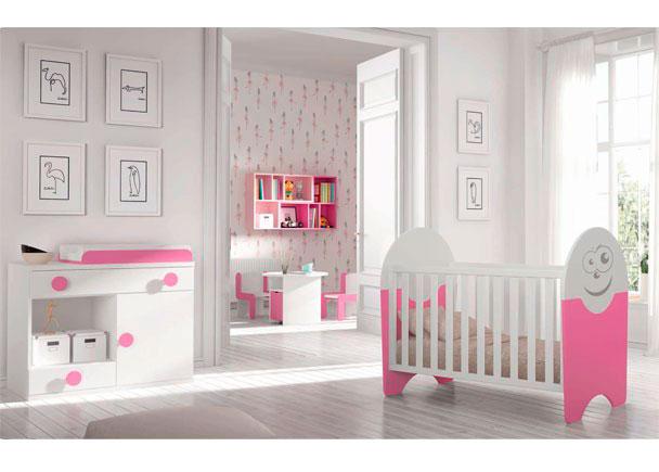Dormitorio Infantil con cuna + Comodín cambiador + Armario de 2 puertas.