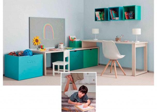 Zona de estudio doble infantil juvenil modular elmenut for Zona de estudio
