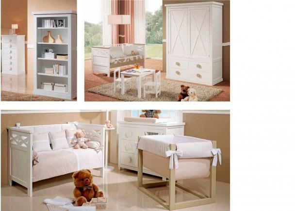 Habitación de bebé con cuna de barrote plano modelo Aspaspara colchón 70 x 140Incluye una cómoda de la misma s