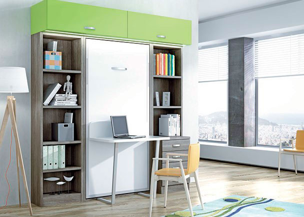 Dormitorio juvenil con cama abatible vertical con escritorio - Dormitorios juveniles tenerife ...
