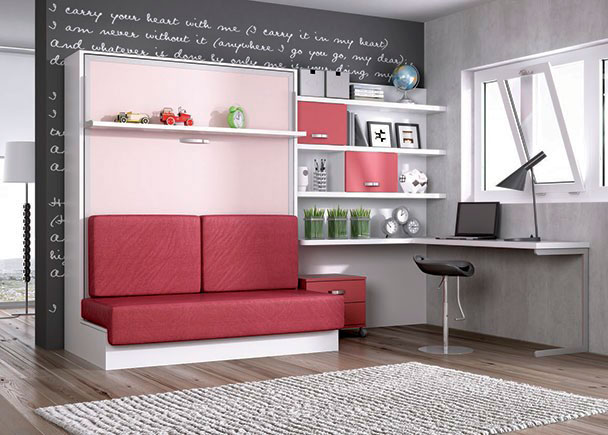 Juvenil abatible vertical con sofa y zona estudio elmenut for Dormitorio estudio