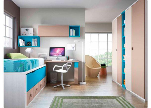 Dormitorio Infantil con cama compacta de 4 cajones con deslizante. El ambiente se completa con 2 armarios con librería central y un escritorio de 206