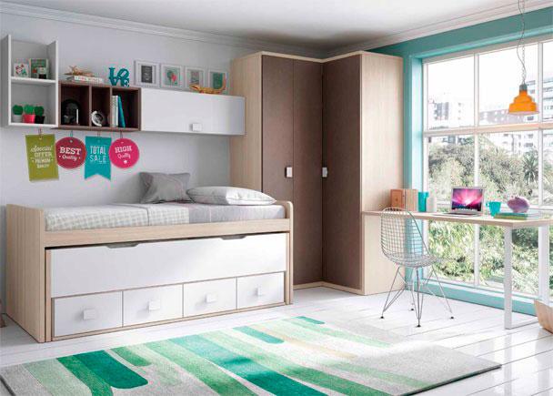 Juvenil con 2 camas escritorio y armario rinc n elmenut for Cama juvenil con escritorio