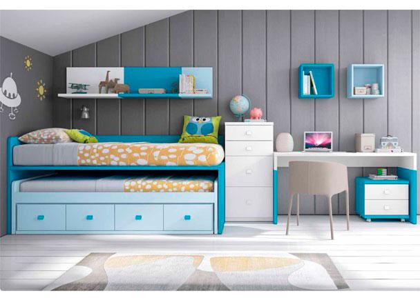 Dormitorio Infantil, con compacto de 4 contenedores y cama deslizante de frente abierto + Escritorio de sobre recto de 151 cm + composición mural