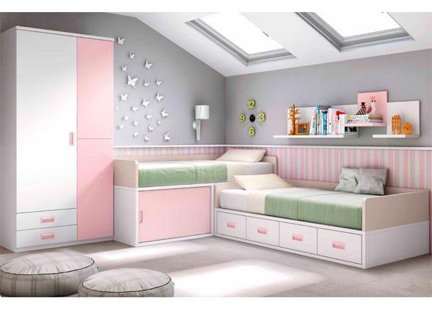 Habitaci n infantil con dos camas en blanco y rosa elmenut - Habitacion infantil cama nido ...