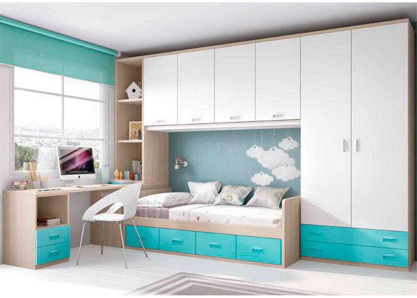 Dormitorio infantil con armario y altillo elmenut for Dormitorios infantiles precios