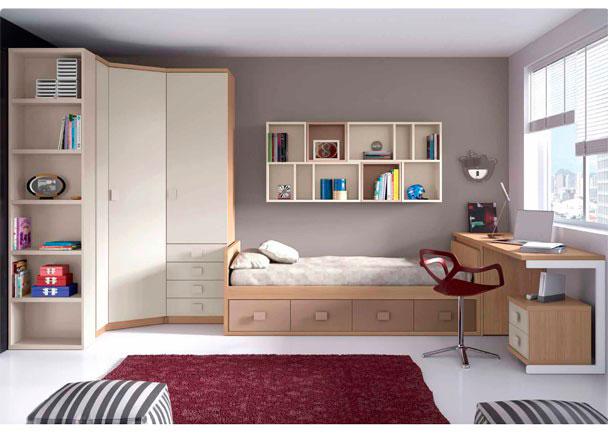 Dormitorio juvenil con cama nido y armario rinc n elmenut - Cama nido economica ...