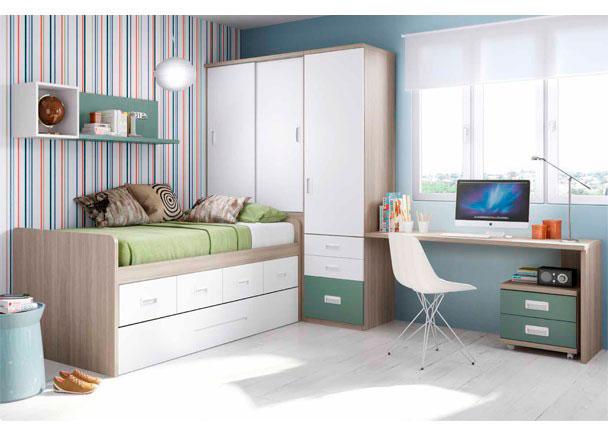 Dormitorio Juvenil con cama compacta de 4 contenedores + Deslizante. Cuenta con armario con cajones y escritorio.