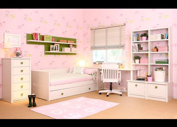 Habitación infantil equipada con los siguientes elementos:-Sinfonier bajo de 54 cm-Nido modelo Cometa con friso-Personalización con nombre (1 plafó
