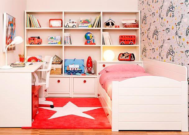 Habitación infantil equipada con los siguientes elementos:-Costadillo de 25 x 50 F-Costadillo de 74 x 50 F-Tapa recta de 160 x 53 F-Dos m&oacut