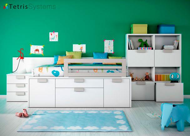 Dormitorio infantil cama compacta con cajones elmenut for Habitaciones compactas