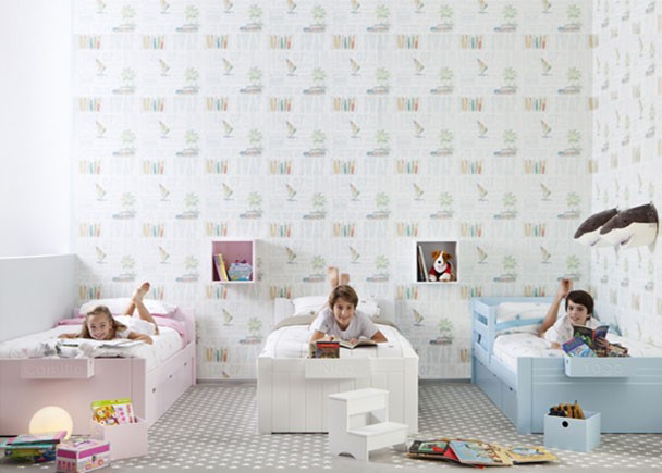 Dormitorio infantil con 3 camas nido elmenut for Cama nido de tres camas