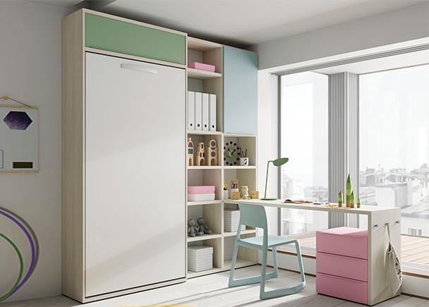 Habitaci n juvenil con cama abatible vertical elmenut - Habitacion juvenil cama abatible ...